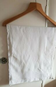 ANTIQUE VINTAGE HANDMADE IVORY PILLOW SHAM PANEL WITH LACE EDGING