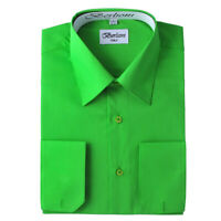 Berlioni Italy Men's Convertible Cuff Solid Italian French Dress Shirt Apple Gre