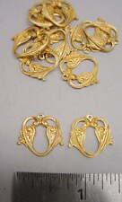 Raw Brass Floral Heart Like Jewelry Findings 2 dozen pieces