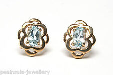 9ct Gold Blue Topaz Celtic Studs earrings Made in UK Gift Boxed