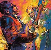 ZWPT603 abstract fine two musician hand painted art oil painting canvas