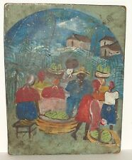 OLD HAITIAN FARMER MARKET LANDSCAPE OIL ON BOARD SMALL FOLK PAINTING UNSIGNED