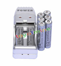 8X AAA 3A 1800mah1.2V NiMH rechargeable battery Grey+USB Charger
