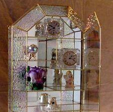 Iridescent GLASS CURIO CABINET for small Miniatures Royal Albert Teapot Display