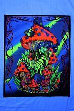 Caterpillar Mushroom Trippy UV Blacklight tapestry // Fabric Poster // Decor //