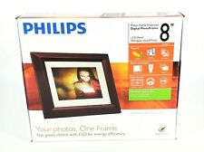"Phillips Home Essentials 8"" LED Digital Photo Frame w/Mahogany Wood Open Box"