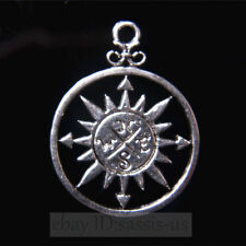 10 pieces 36mm compass Connector Pendant Charms Tibetan Silver DIY Jewelry A7822