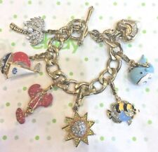 JUICY COUTURE NAUTICAL THEME CHARM BRACELET W/ 6 RETIRED CHARMS!