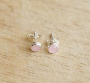 925 Sterling silver and grade A natural Rose Quartz stud earrings