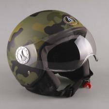 Casco DEMI JET Militare Mimetico Camouflage Verde Opaco Scooter Moto Motorino