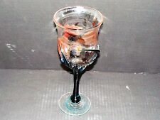 Large Signed Early Studio Art Glass 1989 Goblet Hand Blown