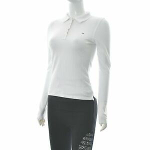 Tommy Hilfiger Golf Women's Half Button Polo T-Shirt Long Sleeve White Size S/36