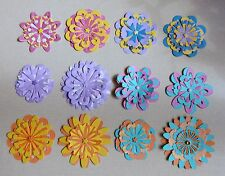 12 Handmade Layered Paper Flowers Scrapbook Layouts Card Making Home Decor 2 Szs