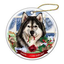 Alaskan Malamute Howliday Porcelain China Dog Christmas Ornament H2