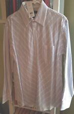 Men's Large Fcuk Formal White Dress Shirt With Blue Dotted Stripes
