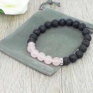 Natural Lava Stone & Rose Quartz Gemstone Chakra Stretch Bracelet & Velvet Pouch