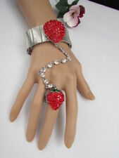 New Women Red Strawberry Metal Hand Chain Multi Rhinestones Slave Bracelet Ring