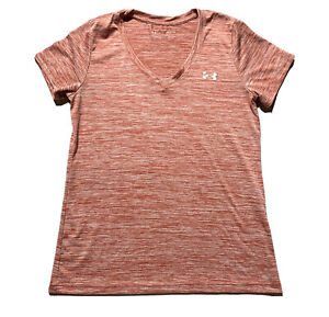 Under Armor Women's Heathered V-Neck S SM Heat Gear Tee Loose Fit Top