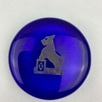 Boyd Art Glass Round Paperweight / Color Sample - Cobalt Scottie Dog
