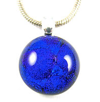 "DICHROIC Glass PENDANT Small Bright  Blue Cobalt 1/2"" 12mm Round Dots Bubbles"