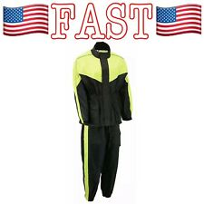 M-BOSS Motorcycle Apparel BOS29601, Black/Neon Yellow, Unisex Rain Gear - 4XL