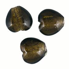 Argento foderato verde scuro 20 mm Vetro Perline Cuore Confezione Da 3 (R20/6)