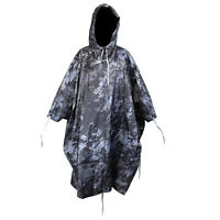 Waterproof US Army Hooded Ripstop Festival Rain Poncho Military Camping Hiking