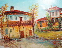 Vintage village landscape oil painting impressionism signed