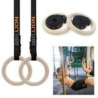Wooden Gymnastic Rings with Straps Gym Strength Training Athlete Exercise