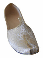 Men Shoes Indian Handmade Traditional Wedding Khussa Cream Loafers Jutties US 11