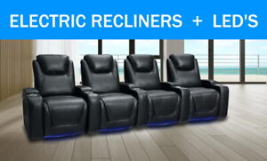 4 Seater Electric Recliner Sofa Leather Air Home Theater Lounge Cinema LED Couch