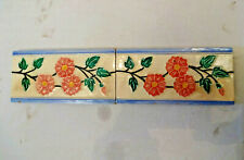 Antique Tile Strip Ceramic Porcelain Wankaner Pottery Flower Stem Leaf Rare # 4*