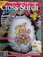 Cross Stitch Plus March 1995 Easter/Hummingbird Brooch/Owl Memo Board/Thimbles