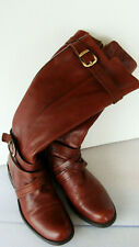Miz Mooz KACY Brown Soft Leather Riding Boots Size 6 ~ Side-Zip Low-Heel ~Buckle