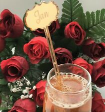 Personalised, Silver/Gold/Clear, Etched, Cocktail/Drink Stirrers, Swizzle Sticks