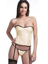 Antique Cream Brocade Satin Ribbon Lace Up Corset and Matching Thong