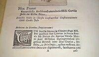 Arci confraternita Sacro Cuore di Gesu' antico libretto 1700 PAPA Clemente XII