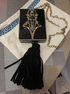 Tory Burch Black Tassel Hard Clutch Bag Golden Detais Chain