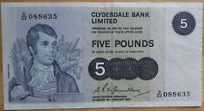 Clydesdale Five 5 Pound Bank Note, Scottish, Scotland, Glasgow January 1975