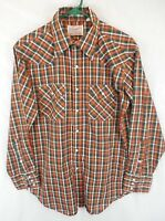 Vintage Wrangler Sanforized Rockabilly Snap Plaid Western Shirt Men's M / L USA