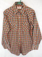 Vintage Wrangler Sanforized Rockabilly Snap Plaid Western Shirt Men's M / L USA