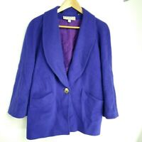 Vintage Cache D'or Cashmere Blend Coat / Jacket Women's Size UK 12 Purple