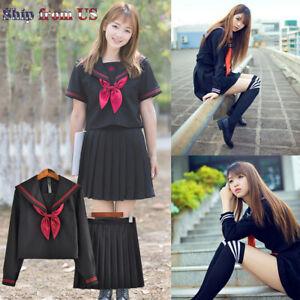 Japanese Sailor School Uniform JK Women Girl Black Furyo Shoujo Costume Dress