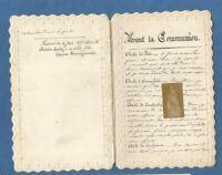iMAGE PIEUSE SANTINO AVANT ET APRES LA COMMUNION , MANUSCRITE 1879