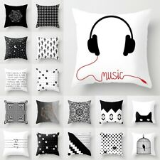 18'' Geometric Pillow Case Cushion Covers Black And White Polyester Throw Square