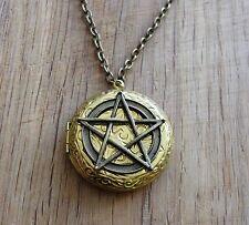 Vintage foto medaillon steampunk gothic Pentagramm pentagram amulett evil kette