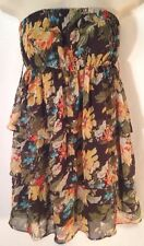 WomeN's Poetry Clothing Chiffon Mini Dress Size S Strapless Floral Sundress LHM