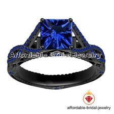 14k Black Gold 1 Carat Princess Cut Blue Sapphire Engagement Wedding Ring
