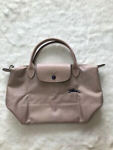 France Md Longchamp Club Horse Embroidery Short Handle Mini Handbag Dusty Pink