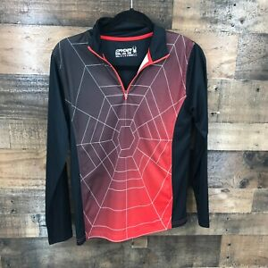 Spyder Boys Long Sleeve Black And Red Spiderweb Print Quarter Zip Pullover Top